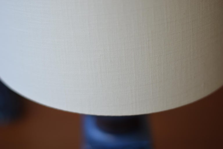 Pair of Danish Royal Copenhagen Baca Blue Table Lamps by Nils Thorsson, 1970s For Sale 5