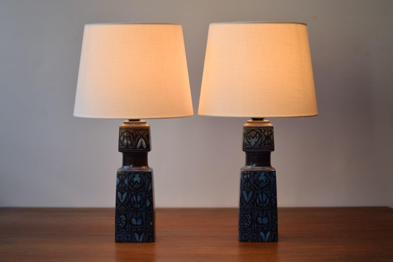 Mid-Century Modern Pair of Danish Royal Copenhagen Baca Blue Table Lamps by Nils Thorsson, 1970s For Sale