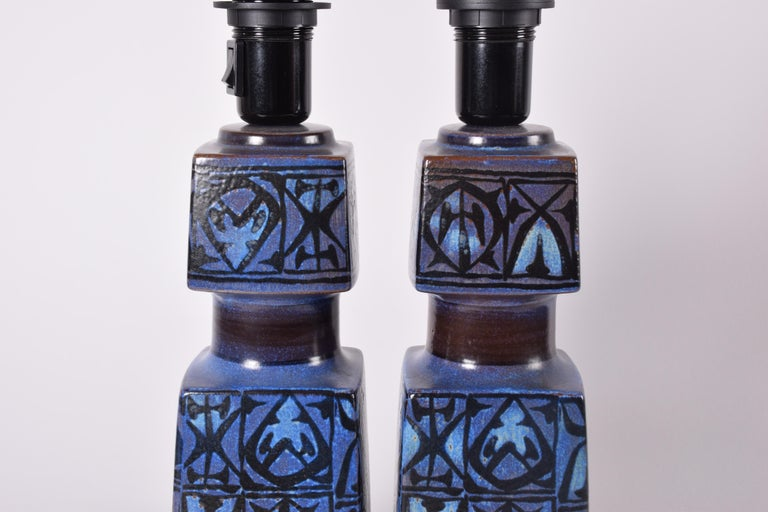 Pair of Danish Royal Copenhagen Baca Blue Table Lamps by Nils Thorsson, 1970s For Sale 2