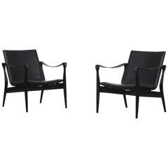 Pair of Danish Safari Easy Chairs by Ebbe & Karen Clemmensen for Fritz Hansen