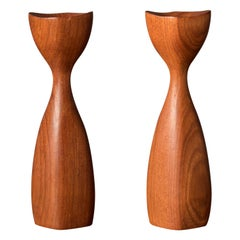 Pair of Danish Sculptural Teak Candleholders