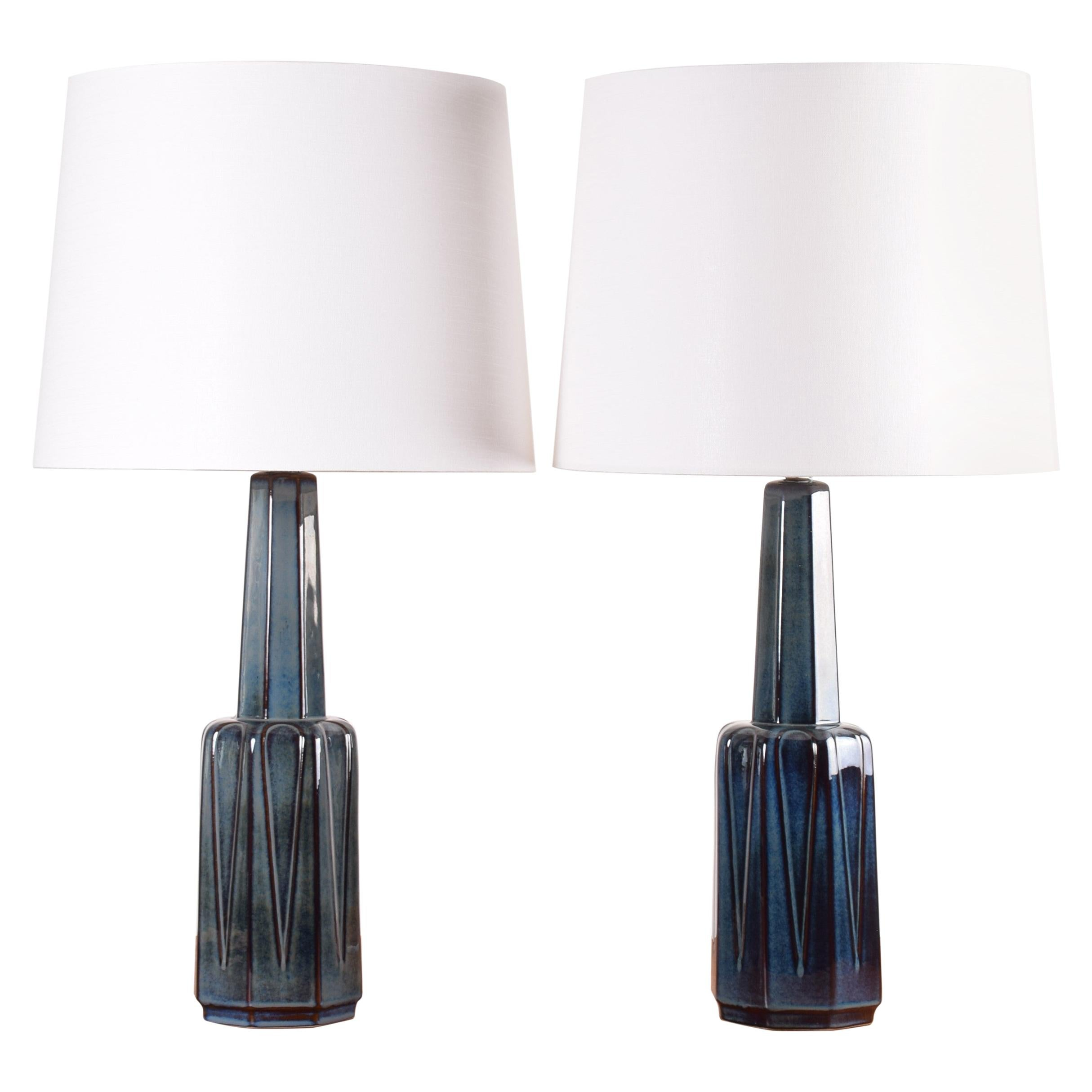 Pair of Danish Søholm Tall Blue Ceramic Table Lamps Einar Johansen Attributed