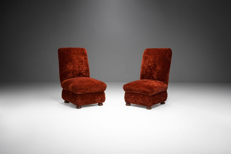 Mid-Century Modern Pair of Danish Slipper Chairs, Denmark, 1930s For Sale