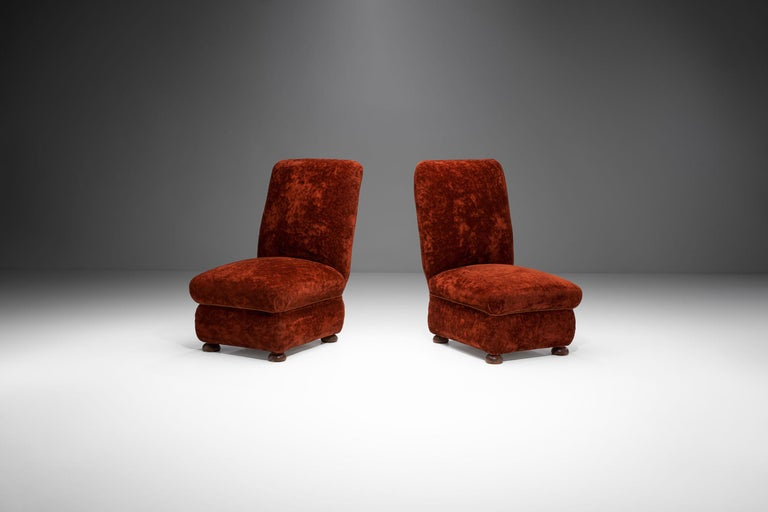 Pair of Danish Slipper Chairs, Denmark, 1930s In Good Condition For Sale In Utrecht, NL