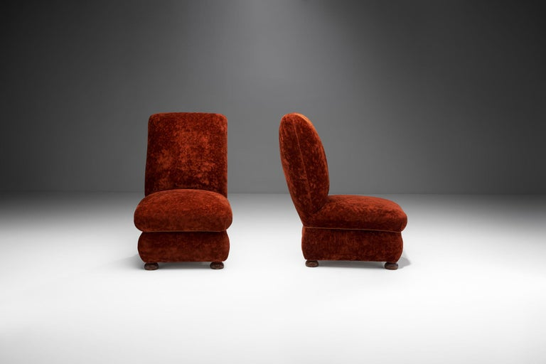 Mid-20th Century Pair of Danish Slipper Chairs, Denmark, 1930s For Sale