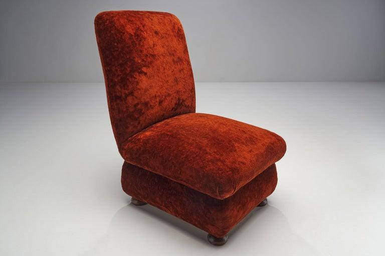Velvet Pair of Danish Slipper Chairs, Denmark, 1930s For Sale