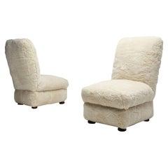 Pair of Danish Slipper Chairs, Denmark, 1930s