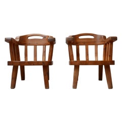 Pair of Danish Solid Pine Mid-Century Organic Easy Armchairs
