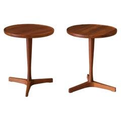 Pair of Danish Solid Teak Round Pedestal End Tables by Hans C. Andersen
