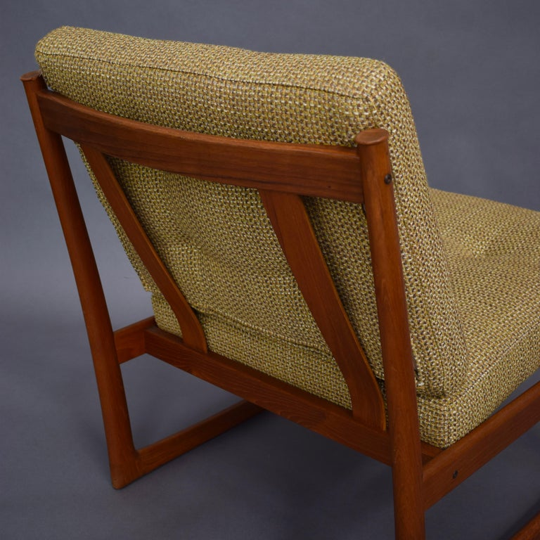 Fabric Pair of Danish Teak Lounge Chairs by Peter Hvidt and Orla Mølgaard, circa 1960 For Sale