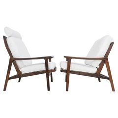 Pair of Guy Rogers Teak Lounge Easy Armchairs Mid Century Danish Design, 1960s