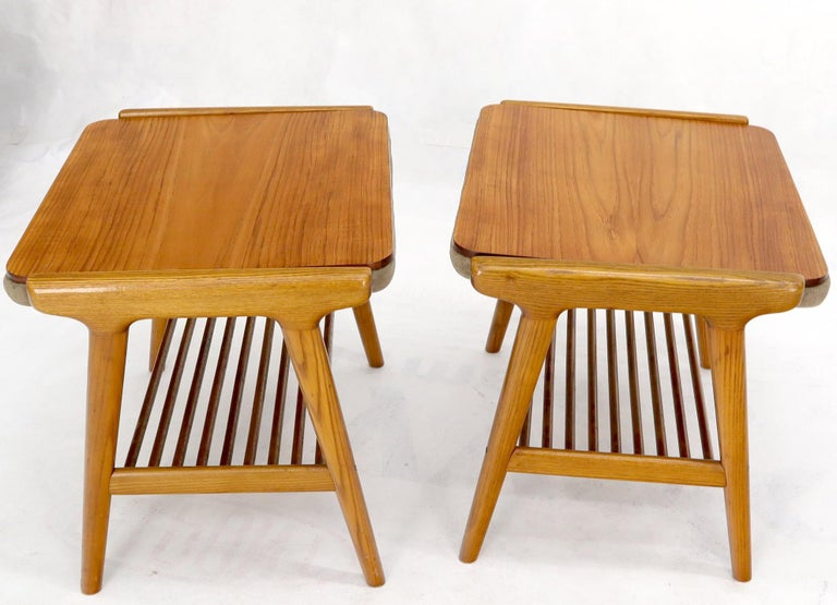 Pair of Danish Mid-Century Modern teak tops side tables flipping to suede upholstery benches.