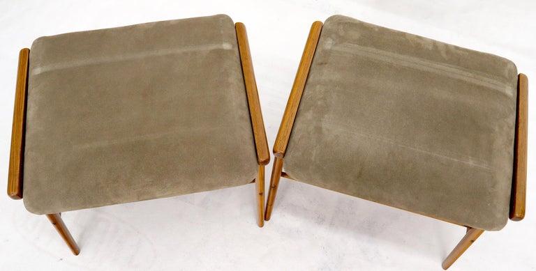 Pair of Danish Teak Mid-Century Modern Flip Top Tables Suede Benches In Good Condition For Sale In Rockaway, NJ