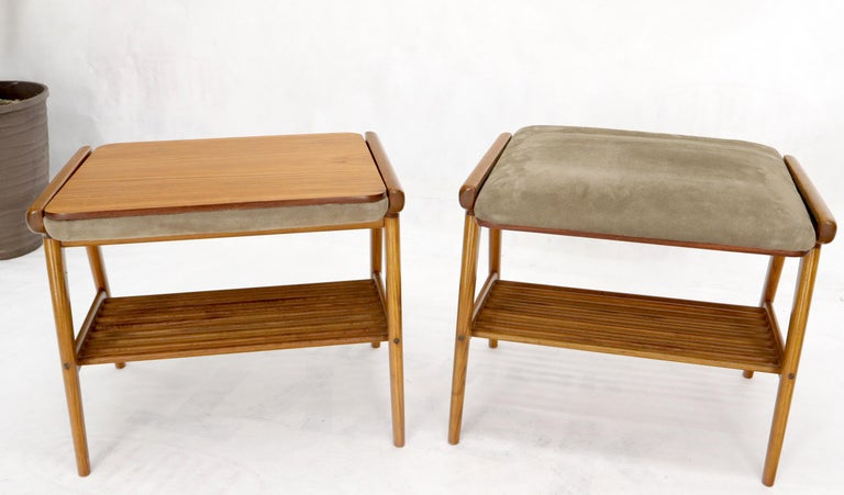20th Century Pair of Danish Teak Mid-Century Modern Flip Top Tables Suede Benches For Sale