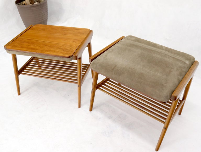 Pair of Danish Teak Mid-Century Modern Flip Top Tables Suede Benches For Sale 1