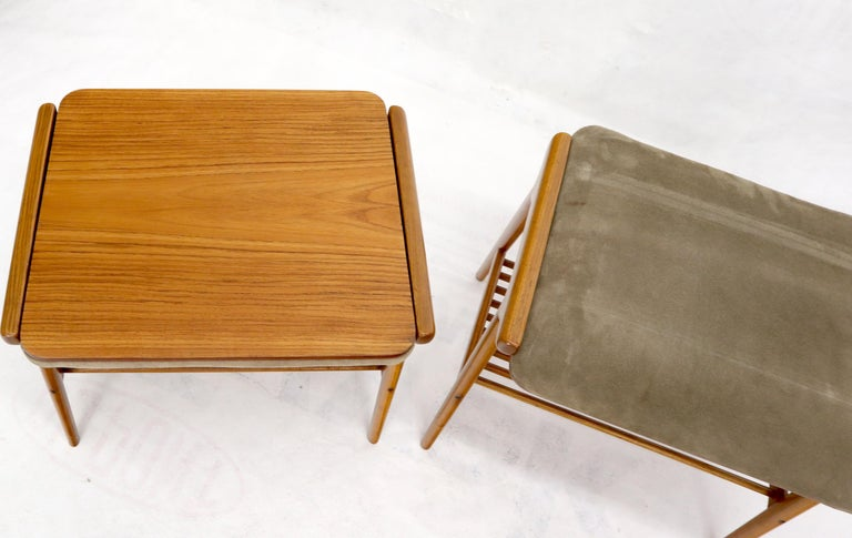 Pair of Danish Teak Mid-Century Modern Flip Top Tables Suede Benches For Sale 2