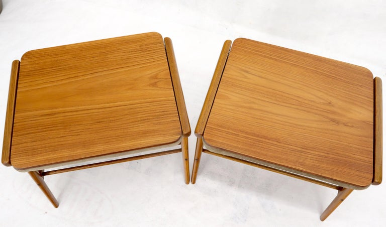 Pair of Danish Teak Mid-Century Modern Flip Top Tables Suede Benches For Sale 3