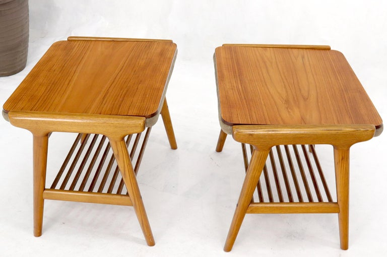 Pair of Danish Teak Mid-Century Modern Flip Top Tables Suede Benches For Sale 4
