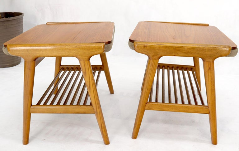 Pair of Danish Teak Mid-Century Modern Flip Top Tables Suede Benches For Sale 5