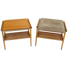 Pair of Danish Teak Mid-Century Modern Flip Top Tables Suede Benches
