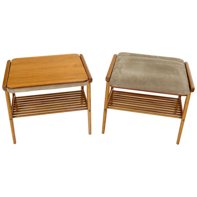 Pair of Danish Teak Mid-Century Modern Flip Top Tables Suede Benches For Sale