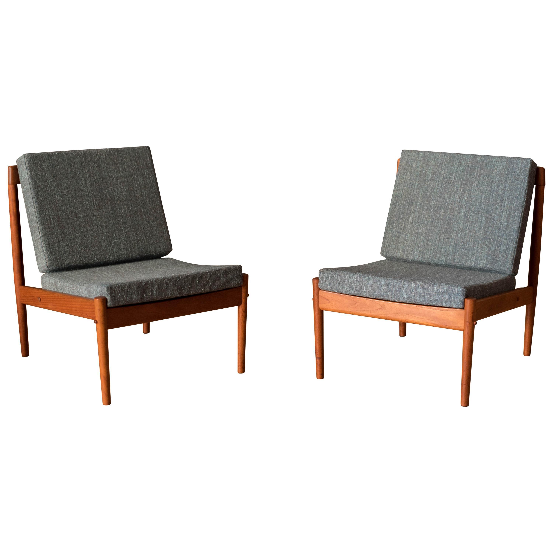 Pair of Danish Teak Slipper Lounge Chairs by Grete Jalk for Poul Jeppesen