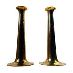 Pair of Danish Trumpet Brass Candlesticks by Hans Bolling, Torben Ørskov, 1960s