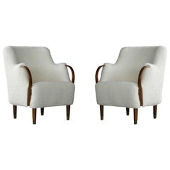 Pair of Danish Viggo Boesen Style Curved Lounge Chairs in Lambswool