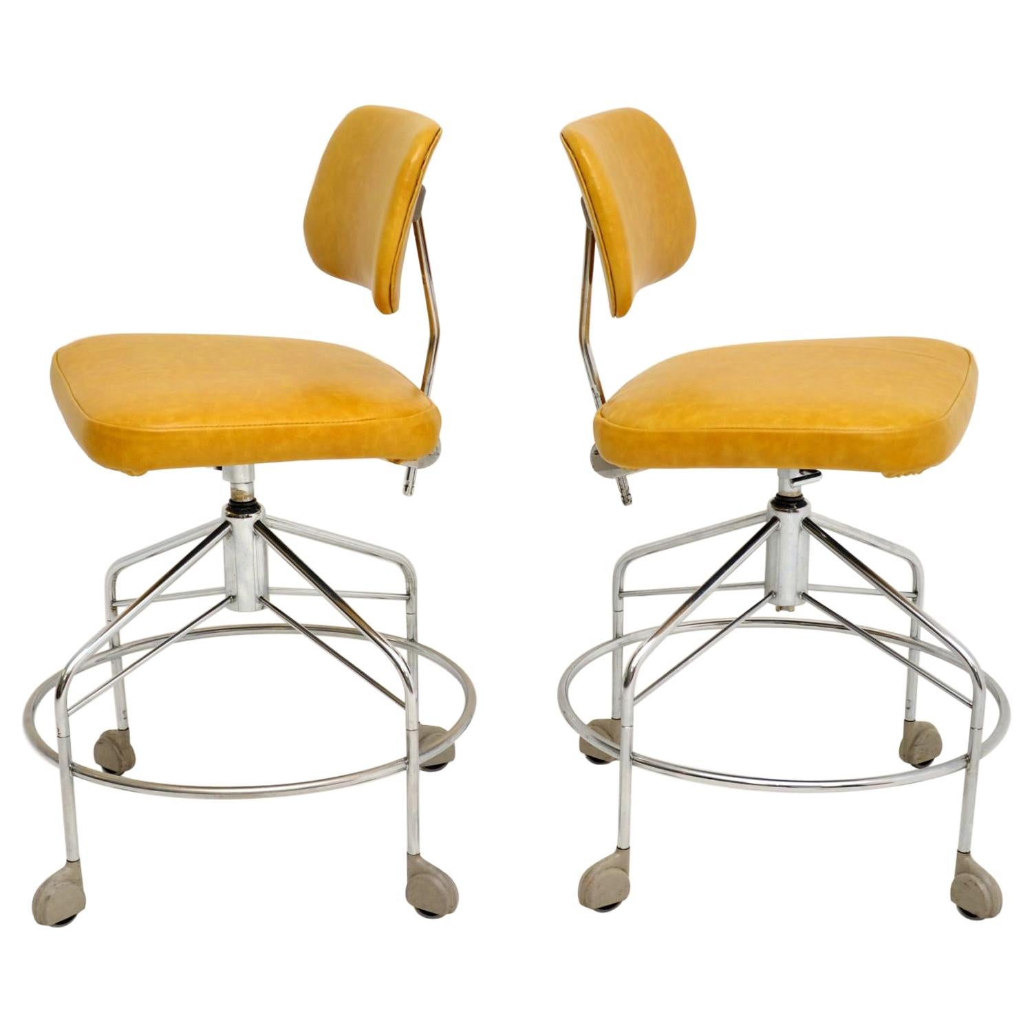 Pair of Danish Vintage Leather Swivel Draughtsman Chairs by Danflex