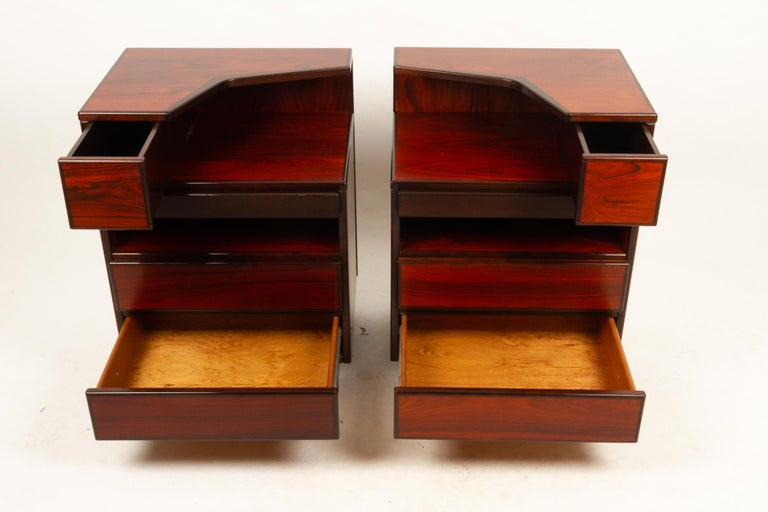 Pair of Danish Vintage Rosewood Nightstands, 1970s For Sale 7