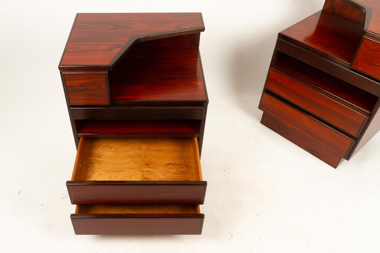 Pair of Danish Vintage Rosewood Nightstands, 1970s For Sale 8