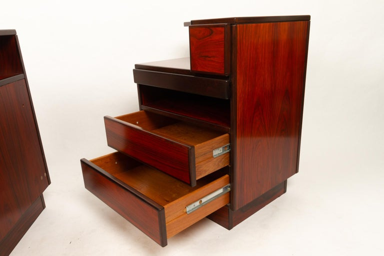 Pair of Danish Vintage Rosewood Nightstands, 1970s For Sale 9