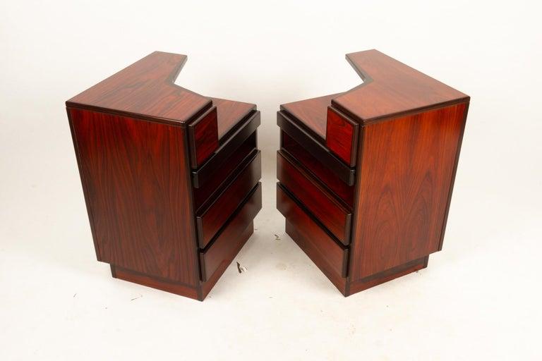 Scandinavian Modern Pair of Danish Vintage Rosewood Nightstands, 1970s For Sale