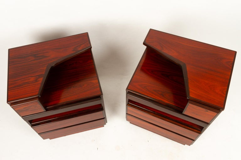 Late 20th Century Pair of Danish Vintage Rosewood Nightstands, 1970s For Sale