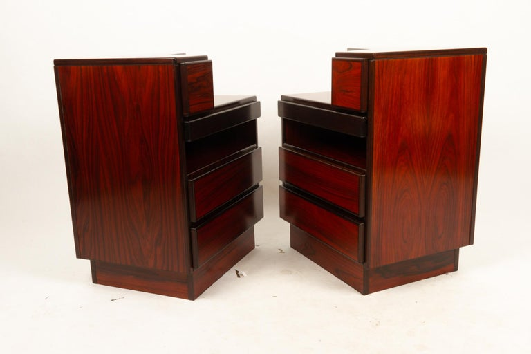 Pair of Danish Vintage Rosewood Nightstands, 1970s For Sale 1