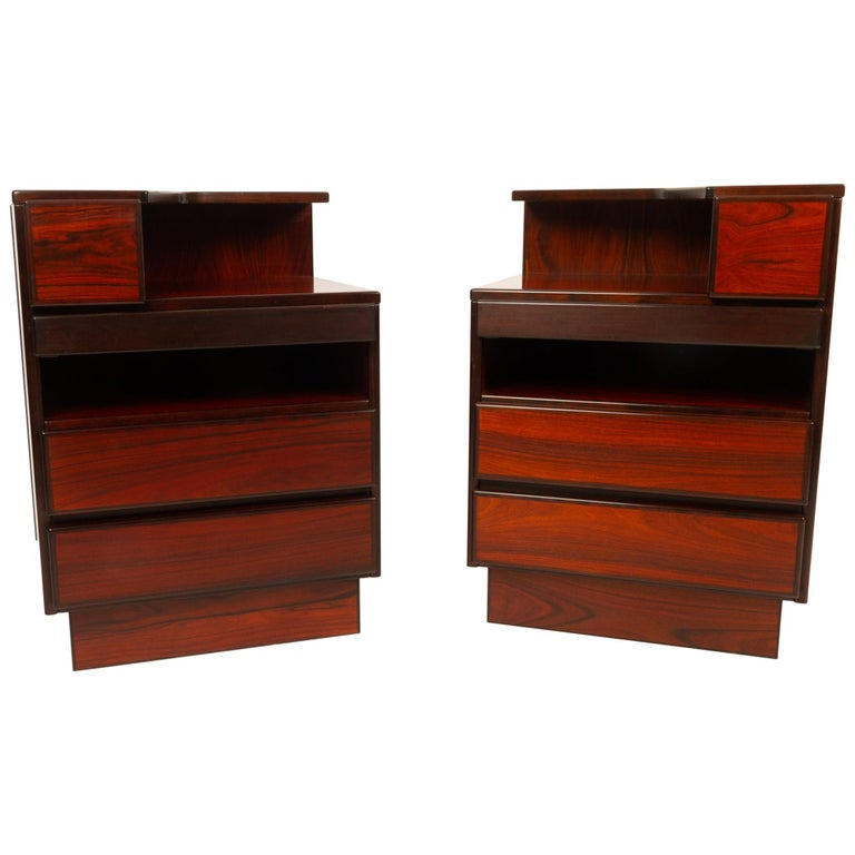 Pair of Danish Vintage Rosewood Nightstands, 1970s For Sale