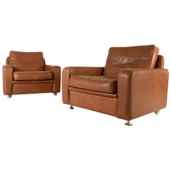 Pair of Danish Vintage Tan Leather Lounge Chairs by Thams, 1970s