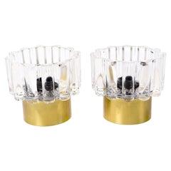 Pair of Danish Vitrika Brass and Glass Sconces