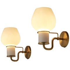 Pair of Danish Wall Lights in Glass and Brass