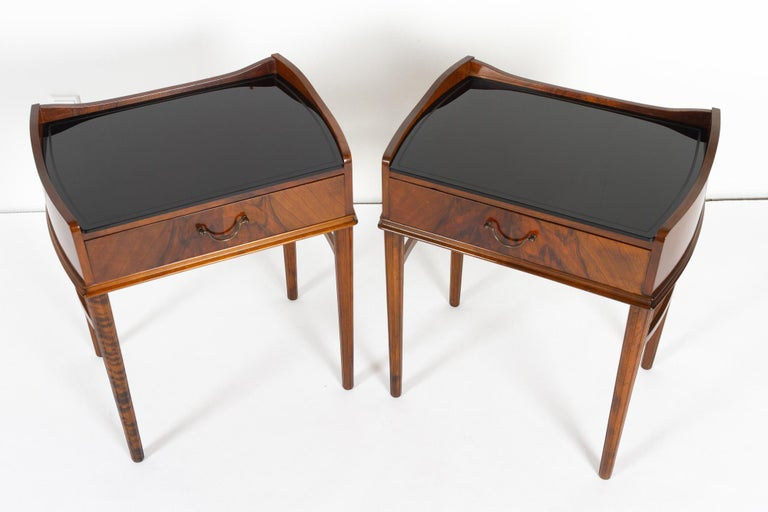 Pair of Danish Walnut Bedside Tables, 1950s In Good Condition For Sale In Nibe, Nordjylland