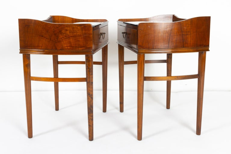 Mid-20th Century Pair of Danish Walnut Bedside Tables, 1950s For Sale