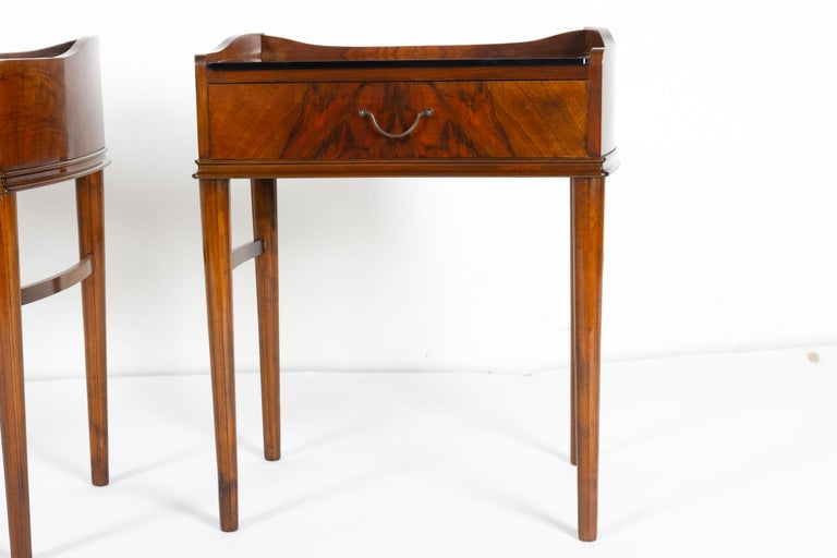 Pair of Danish Walnut Bedside Tables, 1950s For Sale 1
