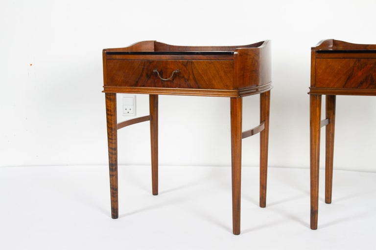 Pair of Danish Walnut Bedside Tables, 1950s For Sale 2