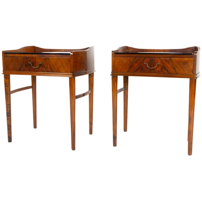 Pair of Danish Walnut Bedside Tables, 1950s For Sale