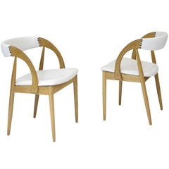 Pair of Danish White Oak Dining Chairs in White Leather