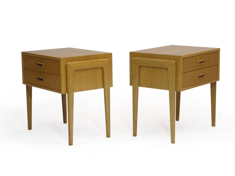 Pair Of Danish White Oak Nightstands Side Tables At 1stdibs