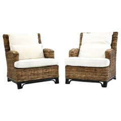 Pair of Danish Wicker Easy Chairs
