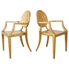 Pair of Daphne Gilt Hammered Iron Dining Chairs