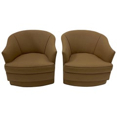 Pair of Dapper John Stuart Swivel Club Chairs