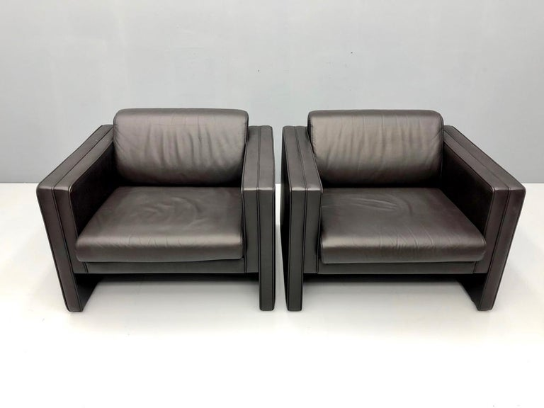 German Pair of Dark Blue Leather Lounge Chairs by Walter Knoll, 1975 For Sale